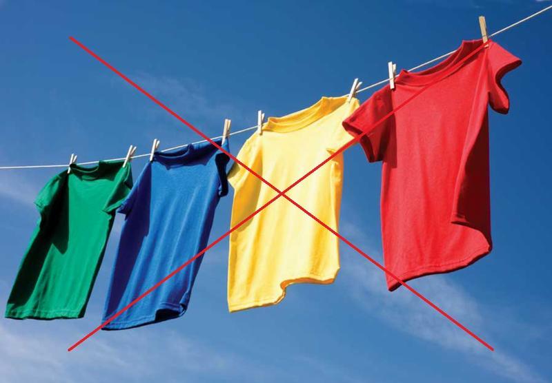 Сушка одежды под солнечными лучами не рекомендуется