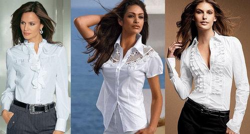 Белая блузка на женщинах